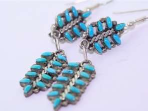 Signed JT Native American Sterling Turquoise Earrings