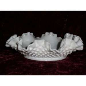 Vintage Fenton Milk Glass Ruffled Hobnail Candy Dish Bowl