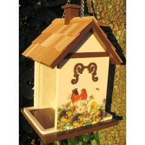 Robins and Pansies Hanging Wild Bird Seed Feeder Patio, Lawn & Garden