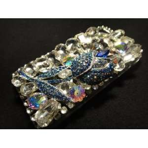 Handmade Bling Crystal with Blue Rhinestone Rose Case for