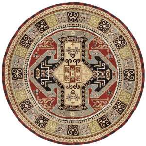 Navy / Red / Light Blue / Green Round Area Rug Furniture & Decor