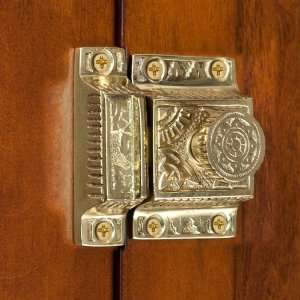Solid Brass Cabinet Latch with Flower Knob   Polished & Lacquered