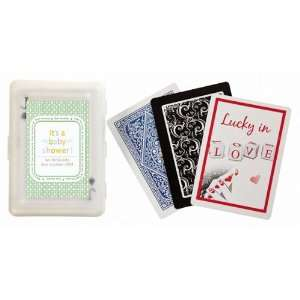 Favors Green Its a Baby Shower Design Personalized Playing Card Favors