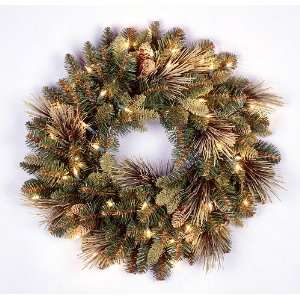 24 Carolina Pine Pre Lit Artificial Christmas Wreath w
