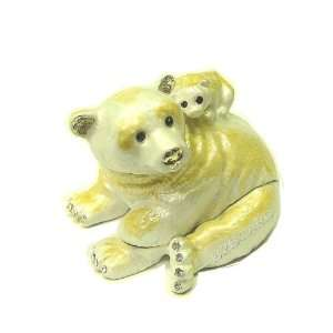 Polar Bear and Cub Crystals Bejeweled Trinket Box