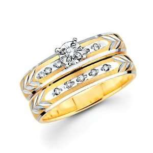 Size  5.5   .13ct Diamond 14k Two Tone Gold Engagement Wedding 2 Ring