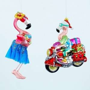 Flamingo Biker Cycle Christmas Holiday Tree Ornament Set/2 Home