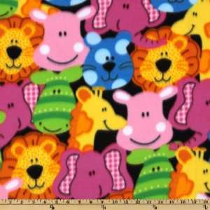60 Wide Fleece Animal Faces Black Fabric By The Yard