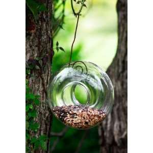 Oval Glass Hanging Bird Feeder with Wire Hanger Patio