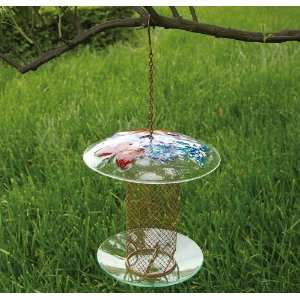 Design Glass & Mesh Column Wild Bird Feeder Patio, Lawn & Garden