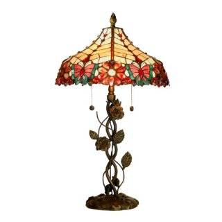 Light Rose Table Lamp, Antique Brass and Glass Shade