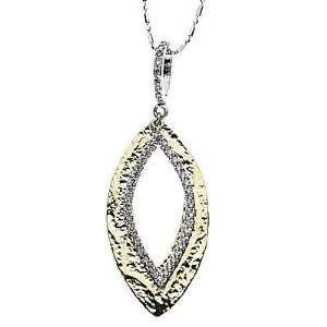 14k Two tone Gold Diamond Hammered Pendant with Chain 16 (0.27cttw, F