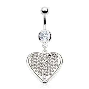 14g Surgical Steel Heart Sexy Belly Button Jewelry Navel Ring Dangle