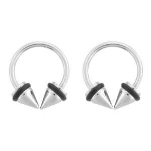 Surgical Steel Spike Horseshoes O Rings   16G Length   Sold as Pairs