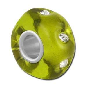 14mm Olive Green with Rhinestones Large Hole Beads Jewelry