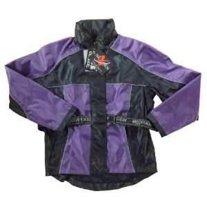 Belted 2 Piece Black and Purple Motorcycle Rain suit Small Automotive
