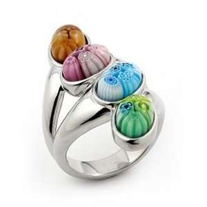 Murano Glass Millefiori Sterling Silver Ring, Size 7 Alan K. Jewelry