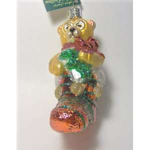 Old World Christmas Ornament Teddy Bear in Stocking