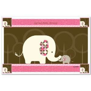 Pink Baby Elephant   Personalized Baby Shower Placemats Toys & Games