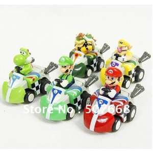 super mario bros. kart pull back car figures 5pcs 50set