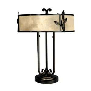 Dale Tiffany TT90400 White Mica Table Lamp, Antique Golden