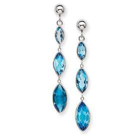 14k White Gold Blue Topaz Post Earrings   JewelryWeb Jewelry