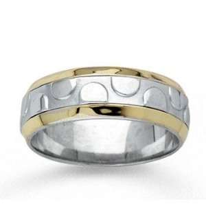 14k Two Tone Gold Charming Hand Carved Wedding Band Jewelry