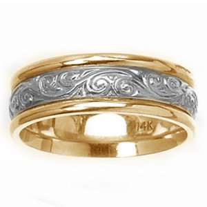 14k Two Tone Gold Engraved Wedding Band (7 mm) SeaofDiamonds Jewelry