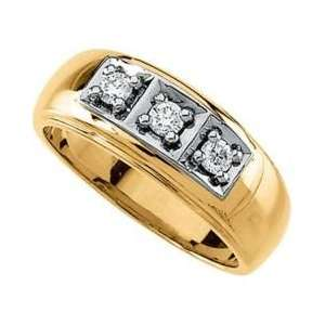 14K Yellow Gold Mens Diamond Ring Jewelry