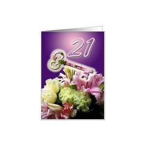 Happy 21st Birthday   Key and Flower Bouquet Card  Toys & Games
