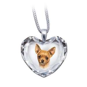 com Heart Shaped Crystal Dog Pendant Necklace Chihuahua, Close To My