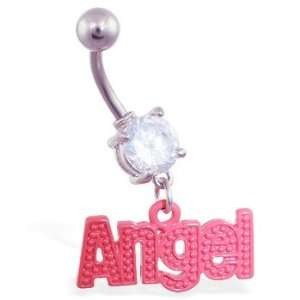 Jeweled belly ring with dangling red Angel Jewelry