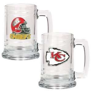 Kansas City Chiefs NFL 2pc 15oz Glass Tankard Set Sports