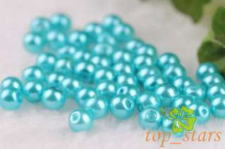 100 pcs Blue lake Faux pearl glass beads Round Charms 6mm CR61