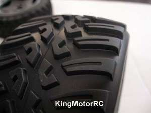 King Motor Mud Terrain Wheels, Tires on Rims fits HPI Baja 5b Desert