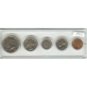 COIN SET, 5 COINS HALF DOLLAR, QUARTER, DIME, NICKEL, AND CENT